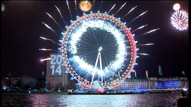 Spectators to be charged to watch London's New Year's Eve fireworks display T01011440 / TX London South Bank Illumintaed London Eye as large screen...