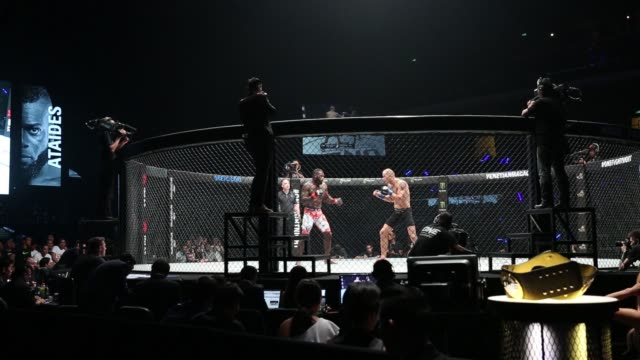 Kings Conquerors event at the Venetian Macao in Macau on Saturday Aug 5 Close up two MMA fighters are seen fighting in a cage during The One Kings...