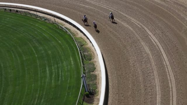 vídeos y material grabado en eventos de stock de spectators watch horse racing at churchill downs race track in louisville kentucky us ahead of the kentucky derby on may 1st 2015 shots high angle... - apuestas deportivas
