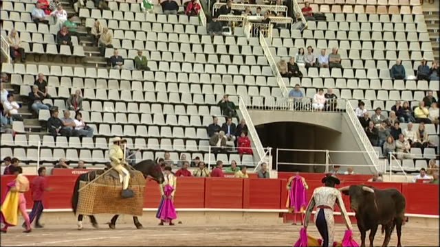 spectators watching bullfighting in arena in catalonia spain lots of empty seat - bull animal stock videos & royalty-free footage