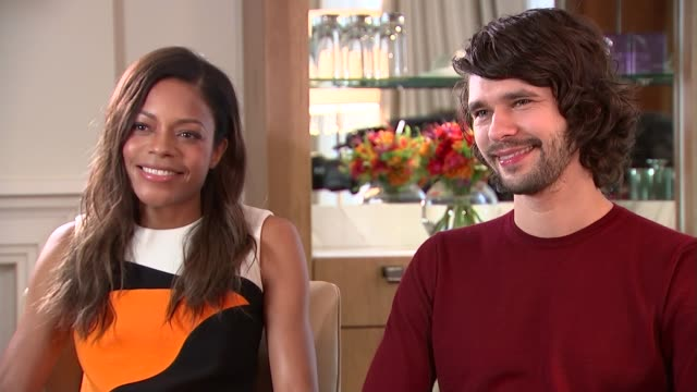 interviews; naomie harris and ben whishaw interview sot - haven't seen film yet / talk about doing press for film off camera - filming felt very... - ben whishaw stock videos & royalty-free footage