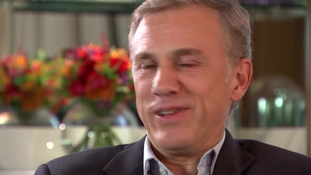 'Spectre' film Interviews Waltz interview SOT Refuses to look to camera and say favourite character Nina Nannar chatting with Christoph Waltz at end...