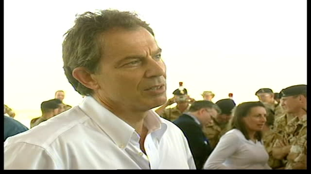 speculation over race to succeed blair lib blair meeting british troops - 2003 stock-videos und b-roll-filmmaterial