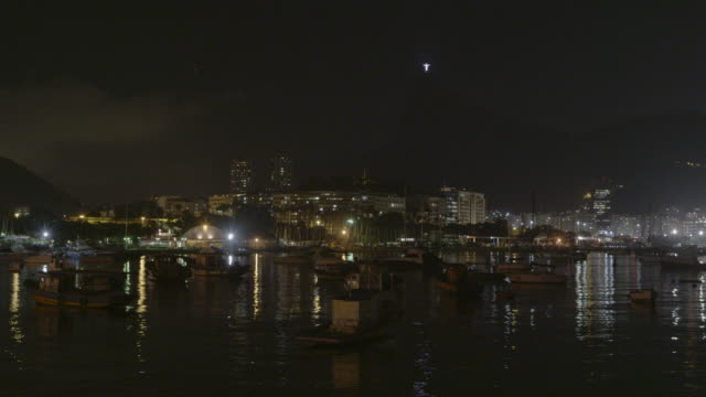 sped up shot of a nighttime rio across dark water. - 2013 stock videos & royalty-free footage