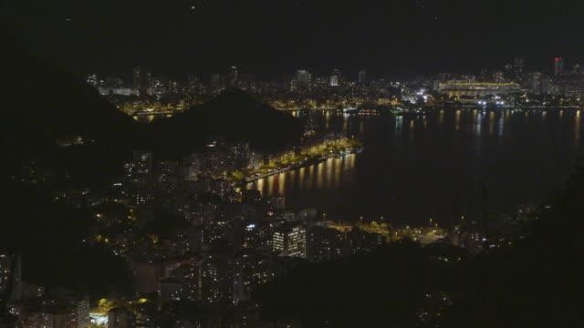 sped-up night footage of avenida das nacoes unidas in rio de janeiro, brazil. - bay of water bildbanksvideor och videomaterial från bakom kulisserna