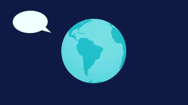 4k speech balloon - world animation - map icon stock videos and b-roll footage