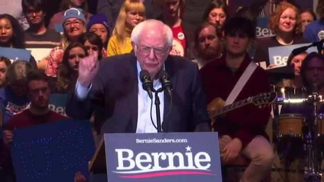 speech bernie sanders us democratis presidential candidate at political rally before iowa caucus let us defeat donald trump let us transform this... - editorial stock videos & royalty-free footage