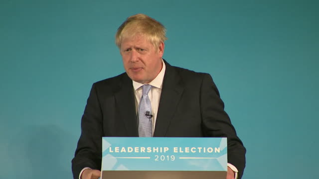 speech boris johnson conservative leadership contender at husting in bournemouth says nonsense to the idea uk will run out of products in the event... - bournemouth stock-videos und b-roll-filmmaterial