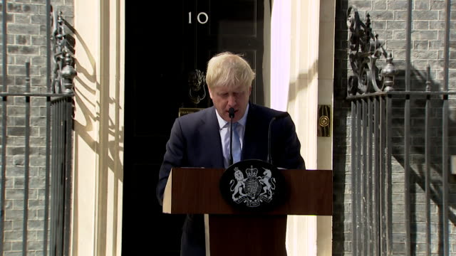 speech boris johnson gives first speech as prime minister about uniting the country the awesome foursome and the values the flag represents around... - boris johnson stock videos & royalty-free footage