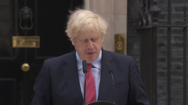 "speech boris johnson pm, after recovering from coronavirus ""this is the moment of maximum risk as many people will now be wondering whether now is... - illness stock videos & royalty-free footage"