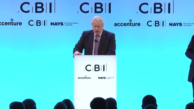speech boris johnson pm announces at the cbi conference that the conservatives plan to postpone cuts in corporation tax to spend on public priorities... - business stock videos & royalty-free footage