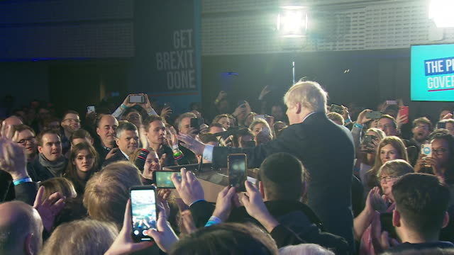 "speech boris johnson pm arrives on stage at conservative party headquarters after winning the general election ""we did it, we pulled it off didn't we"" - winning stock videos & royalty-free footage"