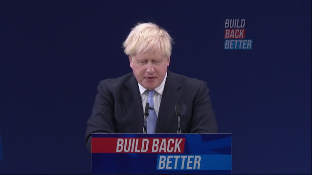 speech boris johnson pm, at conservative party conference, about reforming social care - party social event stock videos & royalty-free footage