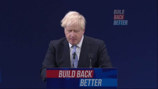 speech boris johnson pm, at conservative party conference, about immigration, home secretary priti patel watches on - party social event stock videos & royalty-free footage