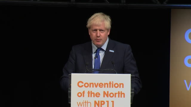 "speech boris johnson pm, at convention of the north in yorkshire, says about brexit ""i am cautiously optimistic"" - north stock videos & royalty-free footage"