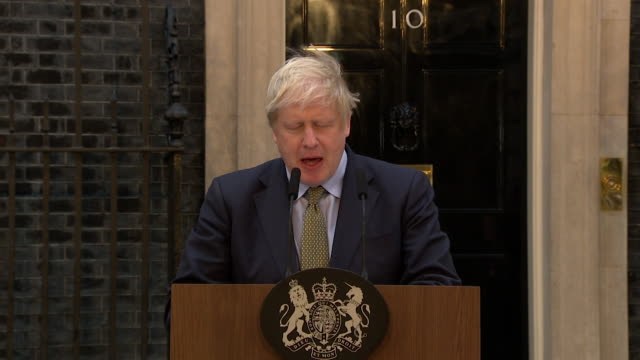 "speech boris johnson pm, general election victory speech in downing street, about first time conservative voters ""we will work round the clock to... - winning stock videos & royalty-free footage"