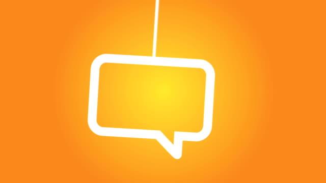 stockvideo's en b-roll-footage met speech bubble hanging on a wire - koord
