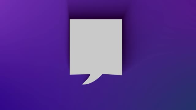 speech bubble while shadow passes all around on gradient blue and purple background in 4k resolution loop ready file - man made object stock videos & royalty-free footage