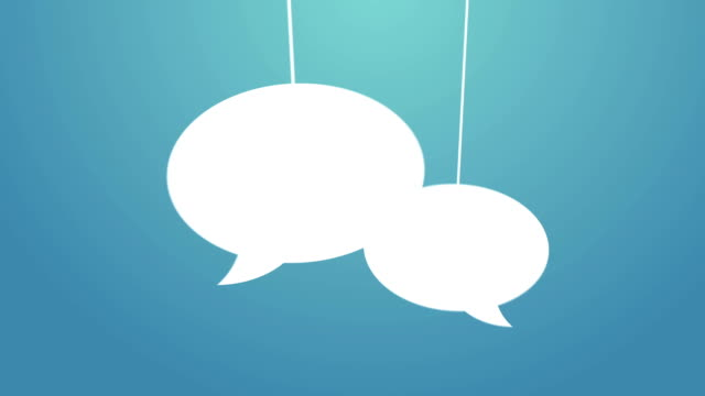 Speech bubbles hanging on a wire