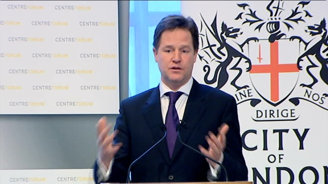 vídeos de stock, filmes e b-roll de speech by nick clegg to centre forum and the city of london corporation; clegg q&a sot - re taxation: - i support lower taxes on enterprise and hard... - cable
