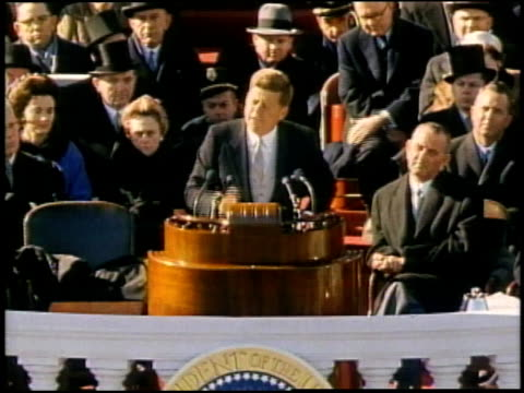 vídeos de stock e filmes b-roll de speech includes ask not what your country can do for you ask what you can do for your country - 1961