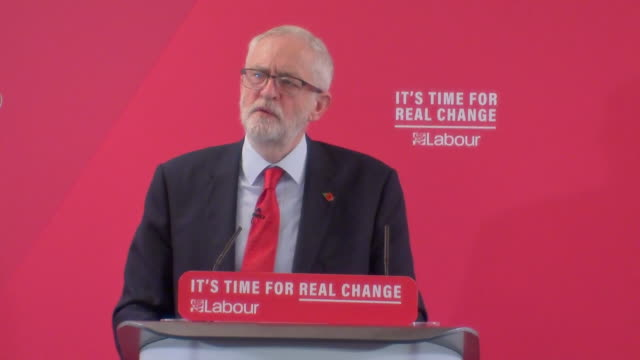 "speech jeremy corbyn, labour leader, at political rally in harlow on election campaign trail ""a labour government will get brexit sorted within 6... - 6 11 months stock videos & royalty-free footage"