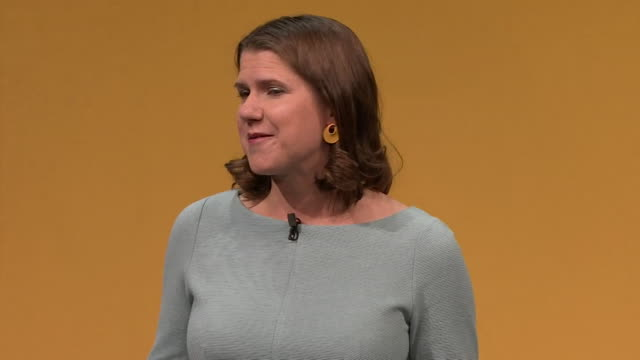 speech jo swinson at first party conference as liberal democrat leader in bounemouth criticises boris johnson's use of language about women if he... - bournemouth england stock videos & royalty-free footage