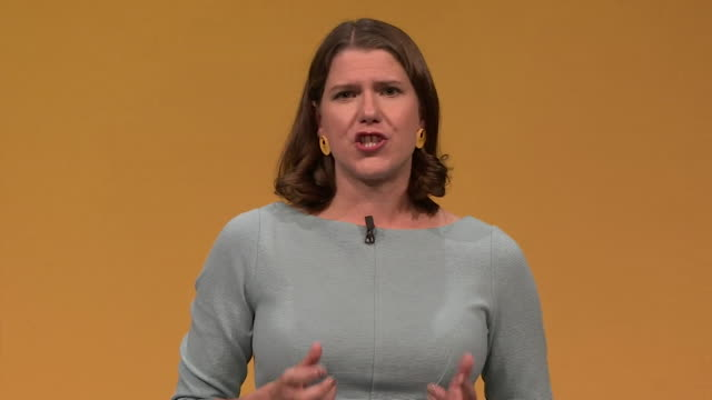 speech jo swinson at first party conference as liberal democrat leader in bounemouth gets emotional when talking about her father he encouraged me to... - bournemouth england stock videos & royalty-free footage