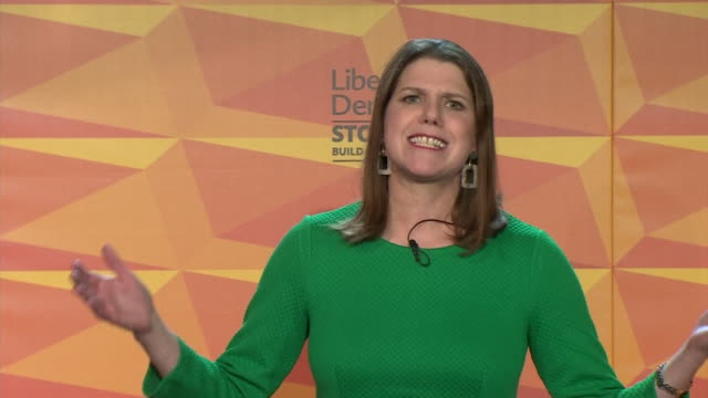 """speech jo swinson, liberal democrat leader, at the election launch says """"we're the only party that can win a significant number of seats from the... - british liberal democratic party stock videos & royalty-free footage"""