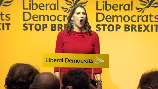 """speech jo swinson, on becoming new leader of the liberal democrats """"i will do whatever it takes to stop brexit"""" - british liberal democratic party stock videos & royalty-free footage"""