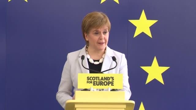 speech nicola sturgeon at snp european election campaign launch this is by far the most important european election in scotland's history - holyrood bildbanksvideor och videomaterial från bakom kulisserna