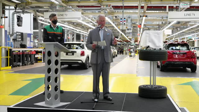 speech prince charles, at the mini production plant at cowley, near oxford, mentions new granddaughter lilibet diana mountbatten windsor, when... - environmental issues stock videos & royalty-free footage