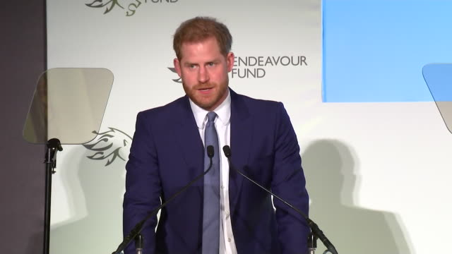 """speech prince harry at the endeavour awards """"being able to serve queen and country is something we are all rightly proud of and it never leaves us"""" - award stock videos & royalty-free footage"""