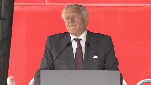 stockvideo's en b-roll-footage met speech sir david attenborough at the naming ceremony for the uk's new polar research ship the rrs sir david attenborough talks about the importance... - bbc
