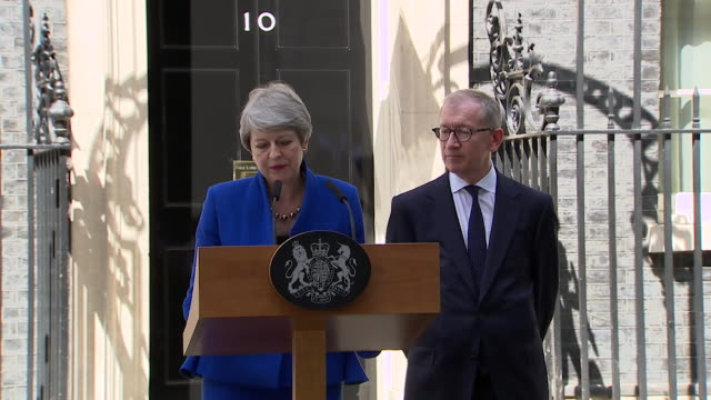 speech theresa may gives farewell speech as prime minister congratulates boris johnson and wish him luck and talks about completing brexit - last day stock videos & royalty-free footage