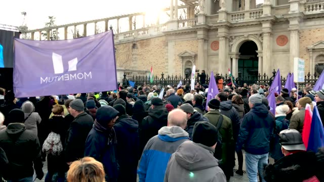 Speeches at a demonstration against recent legislative measures introduced by Hungarian Prime Minister Viktor Orban on January 19 2019 in Budapest...