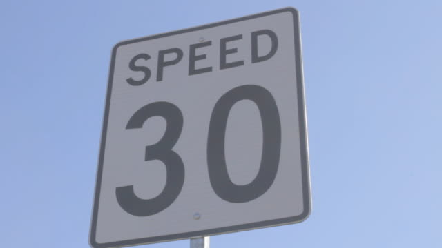 speed 30 traffic sign 2 - speed limit sign stock videos & royalty-free footage