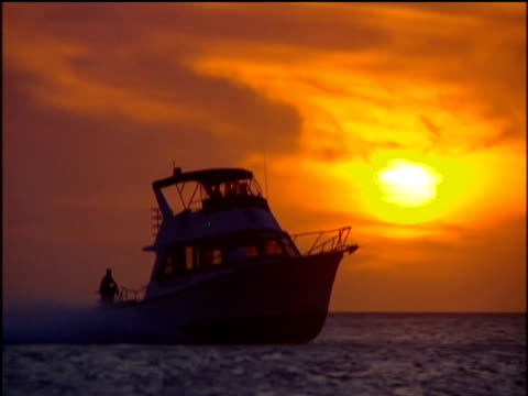 speed boat in silhouette races through sea as orange sun sets. - speed boat stock videos & royalty-free footage