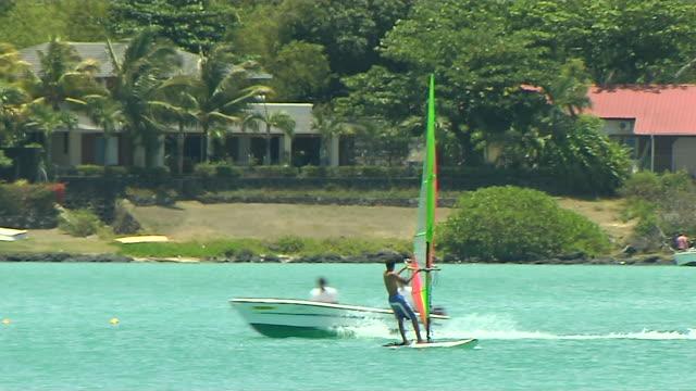 Speed Boat Passing Grand Bay Beach Mauritius