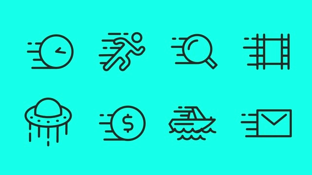 speed concept line icons - vector animate - dollar symbol stock videos & royalty-free footage