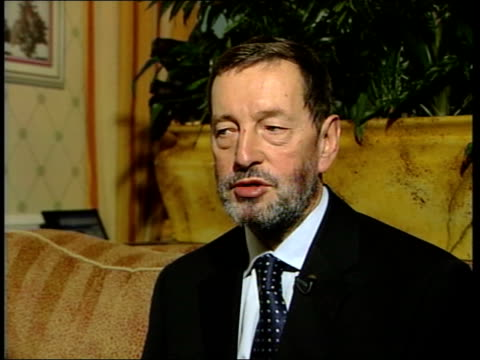 builder in court for digging up; lunchtime news: u'lay - blunkett england: dorset: bournemouth: int cms david blunkett mp interview sot tx... - david blunkett stock videos & royalty-free footage