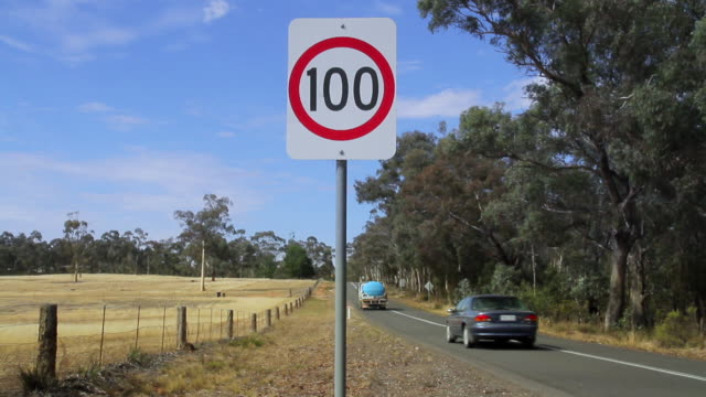 ms speed limit sign near country side / bendigo, victoria, australia - road sign stock videos & royalty-free footage