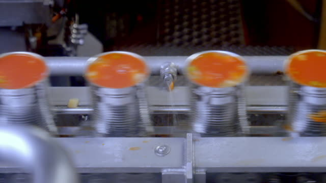 speed ramps of soup on a factory production line - thick stock videos & royalty-free footage