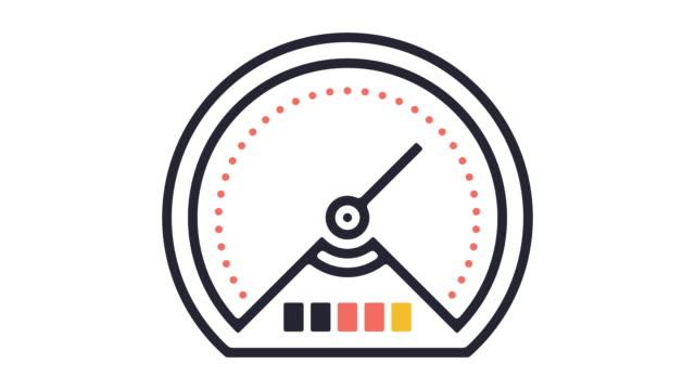 vídeos y material grabado en eventos de stock de test de velocidad línea icono animación - velocimetro