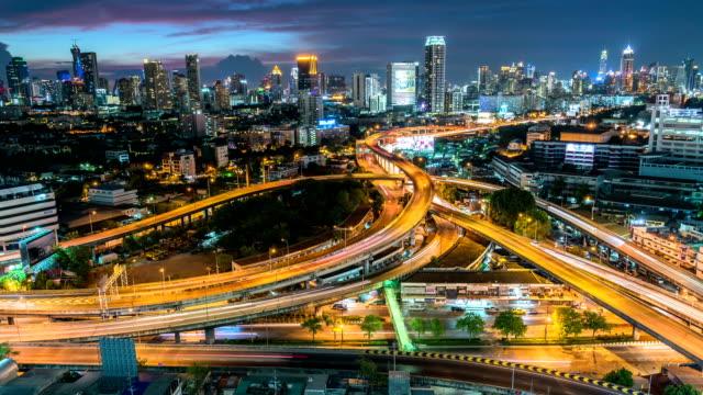 Speed Traffic at Dramatic Sundown Time - light trails on motorway highway at night