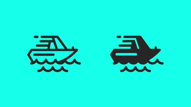 speedboat icons - vector animate - power boat stock videos & royalty-free footage