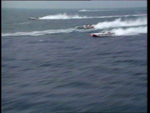 Speedboats along off coast AIRV Speedboats along in race PAN RL as TX Casiraghi's boat crashes