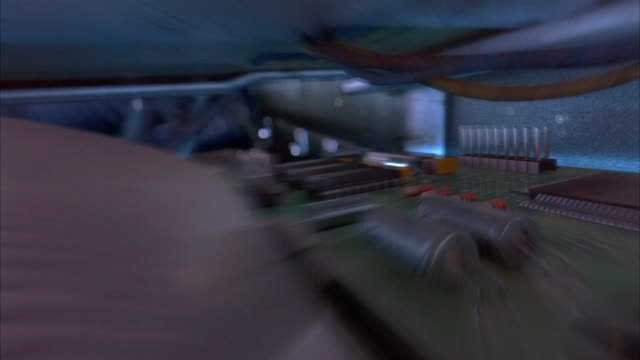 cgi pov speeding over wires to engine-control unit (extreme close up) inside car engine - motor stock-videos und b-roll-filmmaterial