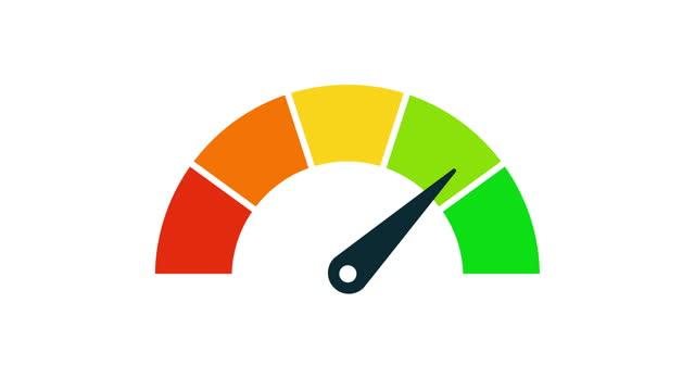 speedometer animation. rating meter. 4k video. vector icon. - meter instrument of measurement stock videos & royalty-free footage
