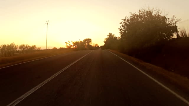 Speedy Car Onboard Camera at Sunset
